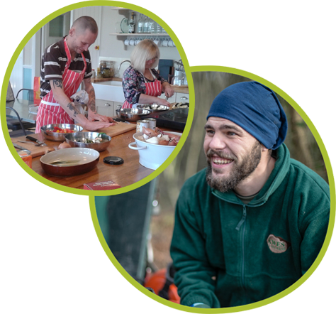 2 pics - one is a group baking and the other is a guy in a wooly hat, smiling